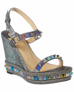 CHRISTIAN LOUBOUTIN PYRACLOU AMAZING SRIKES IRIDESCENT WEDGES EU 39 I LOVE SHOES