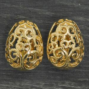 Yves Saint Laurent Gold Plated YSL Filigree Clip Earrings #269f Rise-on