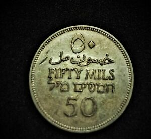 Palestine 50 Mils Coin 1935 SILVER COIN LOOKS GREAT Israel Plestinian Mil Coins
