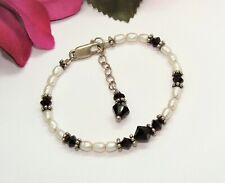 Beautiful 925 Sterling Silver Pearl & Dark Red Crystal Beads Childs Bracelet!