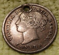 1858  Canada  10 Cents  KEY DATE!!  Km# 3  Silver  Holed  FINE  1,250,000