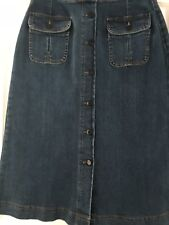 New M&S Long A-LINE Button Front DENIM SKIRT ~ Size 10 ~ INDIGO