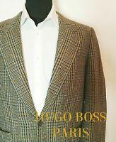 Vintage Hugo Boss Paris Tweed Wolle Kaschmir Sakko Hahnentritt Gr.48 Karriert
