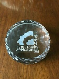 Galway Irish Crystal Glass Paperweight Engraved Ulster Community Hospitals Trust