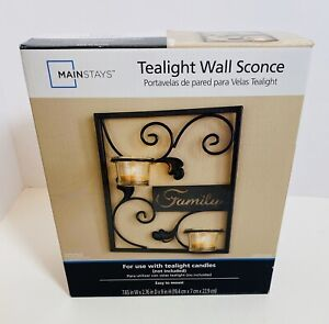 Family Tealight Candle 🕯 Sconce Black Metal Wall Decoration Mainstays