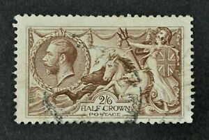 """KGV, 1918, """"Seahorse"""" 2s.6d. choc-brown value, SG 414, used condition, Cat £75."""