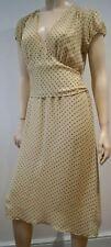 DKNY Cream & Grey Silk Polka Dot V Neck Tie Waist Short Sleeve Summer Dress UK12