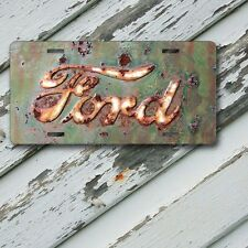 """License Plate Rusted Ford Emblem Image on Aluminum License Plate  6"""" x 12"""""""