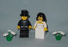NEW LEGO WEDDING BLACK HAIR BRIDE AND GROOM W/ TOP HAT MINIFIGS FOR CAKE TOPPER