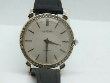 32mm Glycine 17 Jewel White 14K Solid Gold Diamond Vintage Mens Watch Runs LW109