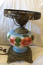 VTG Milk glass blue red rose flower green leaf Huricane Lamp cast metal Base