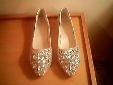 Lily Nity gold metallic flats, clear gemstones at toe, 7.5 M, all man materials