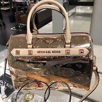 Michael Kors Medium Large Satchel Crossbody PVC Leather Bag Handbag Rose Gold MK