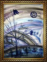 Margarita Bonke Malerei art Bild hexe pentegramm magie friedhof zeichnung
