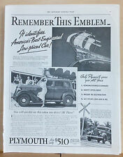 1935 magazine ad for Plymouth - hood emblem, America's Best Engineered Car