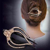 Women Fashion Rhinestone Hairpins Barrettes Big Size Duckbill Disks Hair Clip