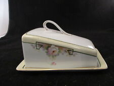 Hand Painted Nippon Covered Cheese Or Butter Dish With Roses And Gold Trim Vtg