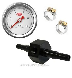 5/16 8mm Billet Alloy Inline Fuel Pressure Gauge Adapter Fitting & 15 PSI Gauge