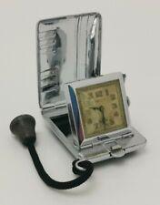 Vtg 1930s Belus Art Deco Enamel Chrome Cased Pocket Purse Folding Travel Watch