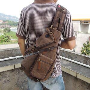 Men Travel  Satchel Sling Bag Retro Chest Pack Messenger Shoulder Bag Cross Body