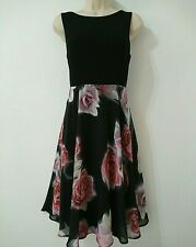 M&Co Black Floral Chiffon Overlay Fit & Flare Flippy Party Dress Size 12 Petite