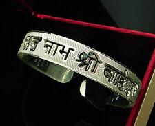 925 Solid Sterling Silver Men Women Satnam Waheguru Sikh Cuff Bangle Kada - 1435