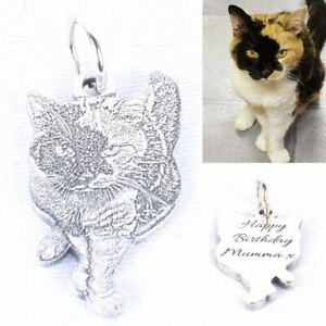 Personalized Pet Photo Necklace Custom Name 925 Silver Memorial Gift Dog Cat