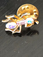 Vintage Collectible Ant Rhinestone Colorful Metal Pin Back Lapel Pin Hat Pin