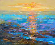 ORIGINAL OIL PAINTING HUGE SIZE ABSTRACT WALL ART, SEA SUNSET OCEAN WATER BRIGHT