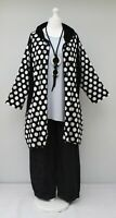 "PLUS SIZE A-LINE HOOHEH DOTS PRINT LONG JACKET*BLACK*AKH*BUST UP TO 52"" XL-XXL"