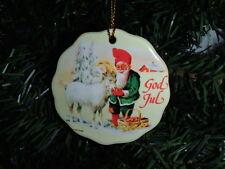 Scandinavian Swedish Gnome Tomte & Goat Christmas Ceramic Ornament #231