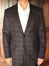 Eido Napoli 'Balthazar' Men's Slim Fit Suit in Maroon Plaid 140s Wool 44L $1995