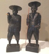 Pair of Vintage/Antique Carved Wood Black Asian Farmers/Fishermen 1965