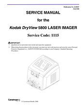 KODAK DRYVIEW 5800 LASER IMAGER SERVICE MANUAL REPRINTED COMB BOUND