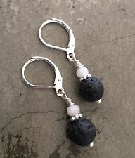 Essential Oil Diffuser Lava Rock Aromatherapy Silver Lever Back Earrings
