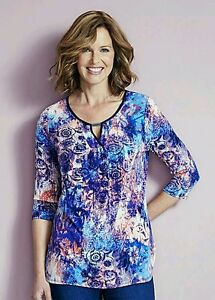 Ladies STUNNING Print Stretch Jersey Tunic Top - Coral/Blue - Size 18 RRP £22