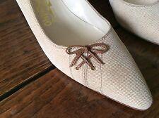 Vintage Womens Salvatore Ferragamo Shoes Heels Pumps Leather Trim