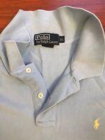 Ralph Lauren Polo Golf Shirt Mens Large Soft Striped Light Blue L