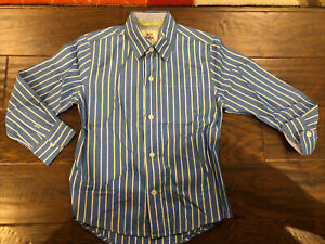 Boys Mini Boden Blue And White Striped Dress Shirt 5–6Y