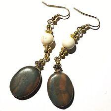 Gold Earrings Jasper Gemstone Beads Hooks, Clip On or Butterfly Studs