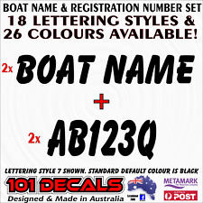 CUSTOM 15cm high BOAT REGISTRATION number +59cm long BOAT NAME decal sticker set