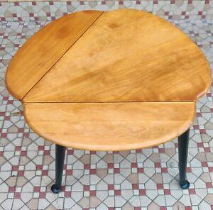 Vintage Refinished 3 Leg Maple Ethan Allen Harvest Drop Leaf Side End Table