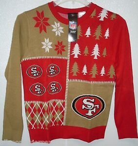 NFL San Francisco 49ers Busy Block Ugly Sweater Youth Size Youth Large by FOCO
