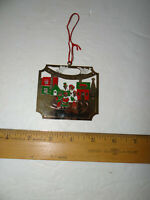 Lillian Vernon Lillikins 1983 Gold Tone Metal House Ornament Red White Green