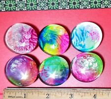 "6 Hand-painted (rainbow) 1.5"" Glass Cabochon round Ref Magnet office Decor"