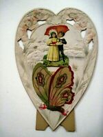 Charming Vintage Stand-up Valentine In The Shape of Heart w/Girl & Cake   *