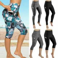 Womens Capri YOGA Pants Pocket Run Gym Sport Fitness Cropped Leggings Workout C3