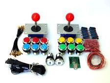 ARCADE JOYSTICK x 2 + 14 BUTTONS + USB INTERFACE + WIRING KIT  BARTOP MACHINE Pi