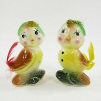 Vintage Bird w Feathers Salt Pepper Shakers Japan Anthropomorphic Yellow Red