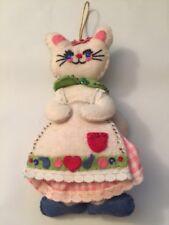 "Vintage Felt Sequin Christmas Ornament 3D CAT 7"" KITTEN Gingham Dress Apron"